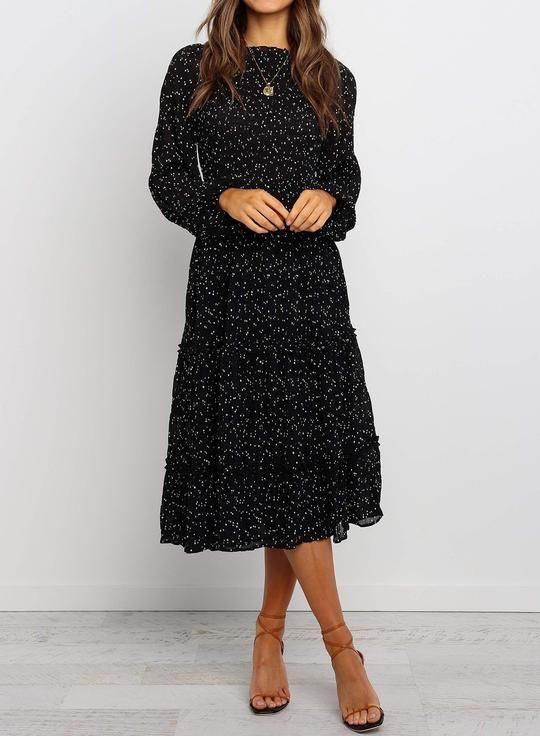 Photo of Round Neckline Long Sleeves Midi Length Beige Dress