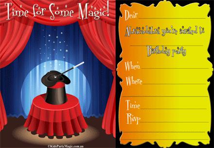 Free Printable Magic Show Invite Print 2 Or 4 On A Pg Magic