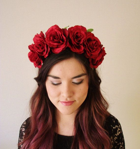 Red Roses floral headband floral crown flower by MissWildFlowers ... 01e518be8e0