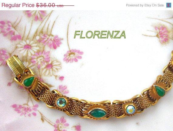 FLORENZA Mesh Bracelet Green Aurora by VintageJewelryMeadow, $30.60