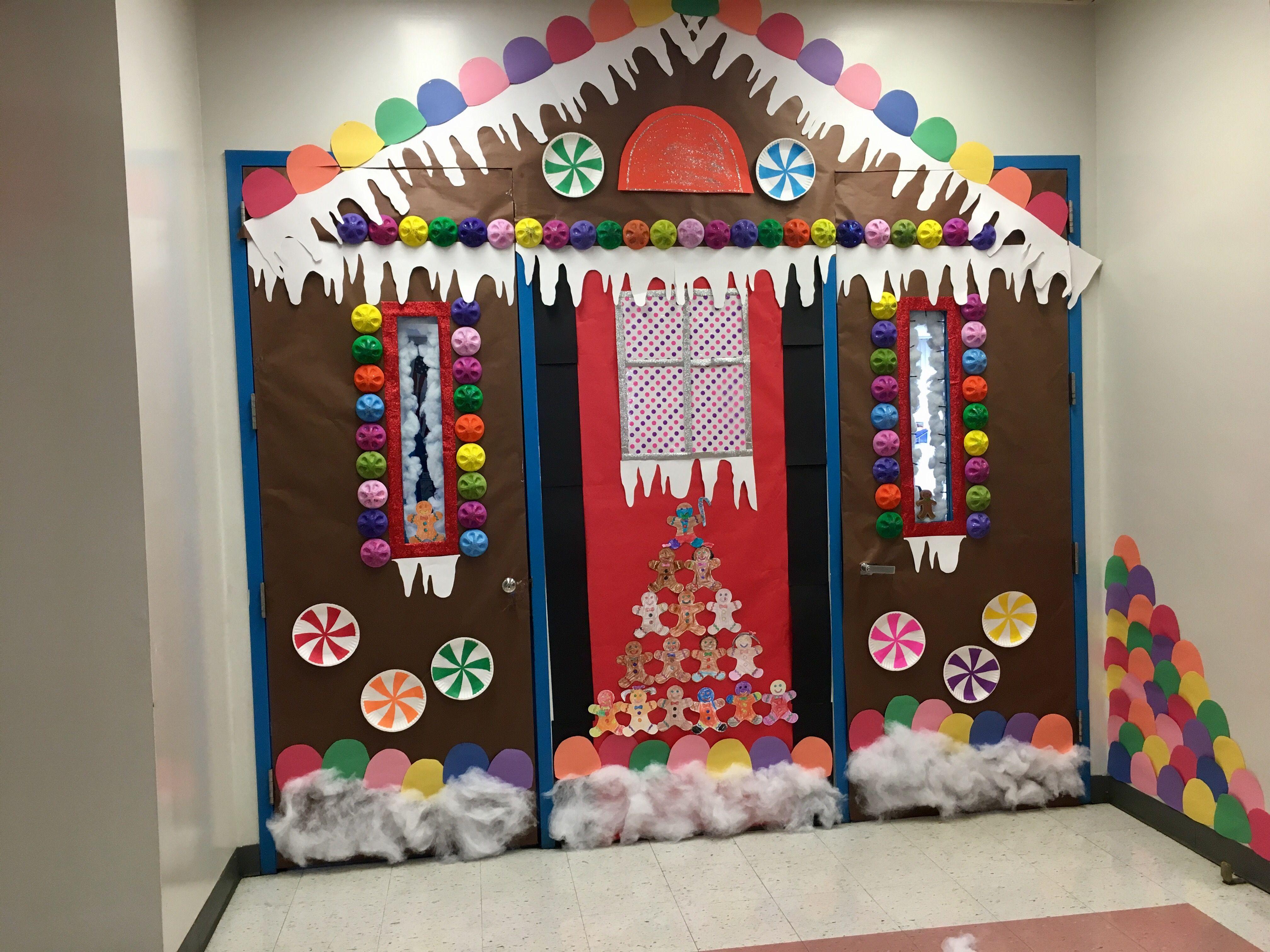 My classroom door/ Gingerbread House #christmasdoordecorationsforwork