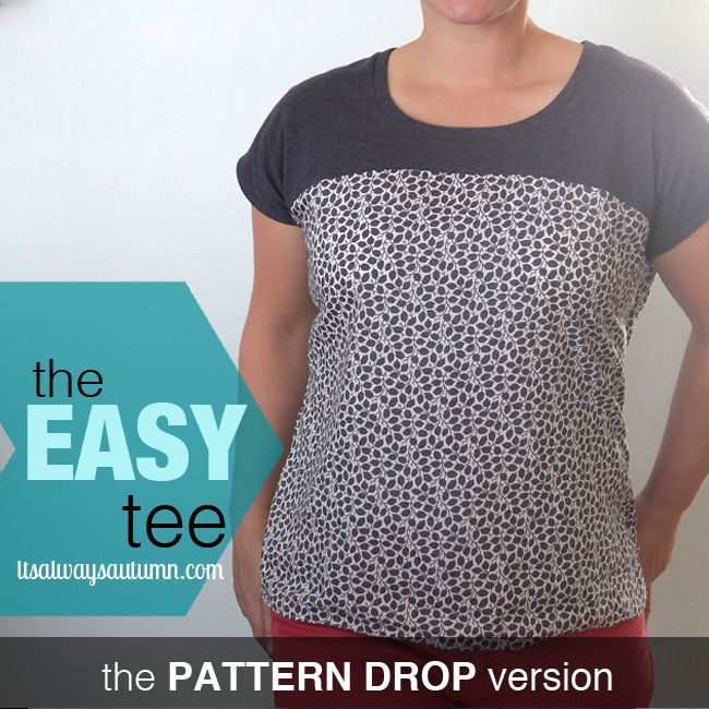 the easy tee {the anthro pattern drop version | Free printable, Drop ...