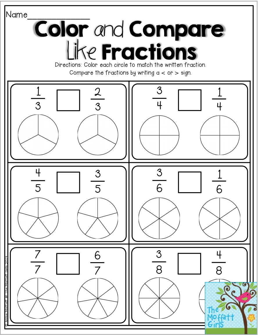 Color and Compare Like Fractions- Color the fractions and decide to use  greater than or less than symb…   Math fractions worksheets [ 1150 x 888 Pixel ]