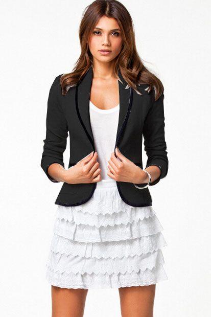 Black and White Long Sleeve Lapel Suits