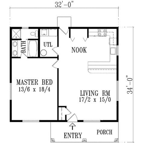 Ranch Style House Plan 1 Beds 1 Baths 896 Sq Ft Plan 1 771 1 Bedroom House Plans One Bedroom House Plans One Bedroom House