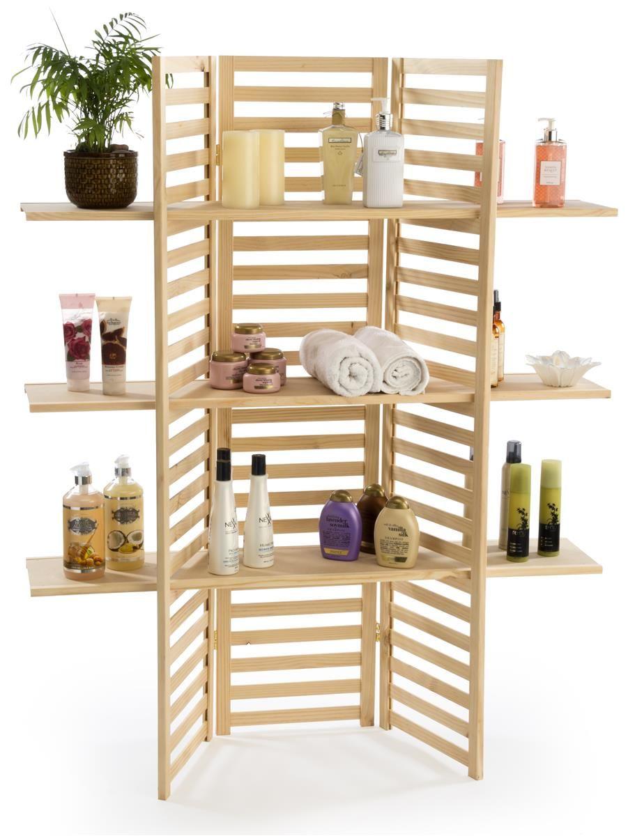 Wooden Retail Shelving Unit W 3 Shelves Folding Panels Pine Wood Retail Shelving Diy Display Shelf Shelves