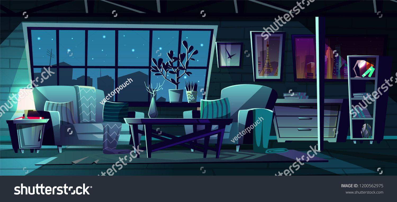 Vector Cartoon Illustration Of Modern Living Room At Night Cozy