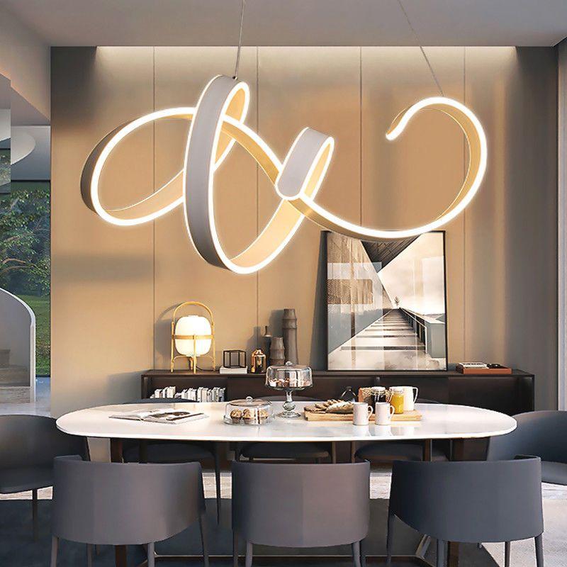 Spiral Led Wave Ceiling Pendant Lamp Chandelier Modern Infinity Lamp Light Fixtures Ledlamp Led Chandelier Chandelier Lighting Fixtures Dining Room Ceiling
