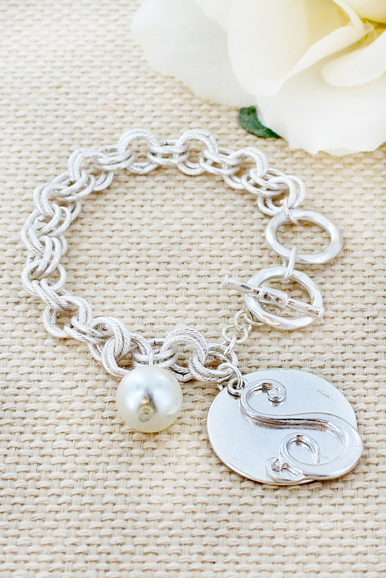 Worn Silvertone and Pearl 'S' Toggle Bracelet #AB8218-SWS