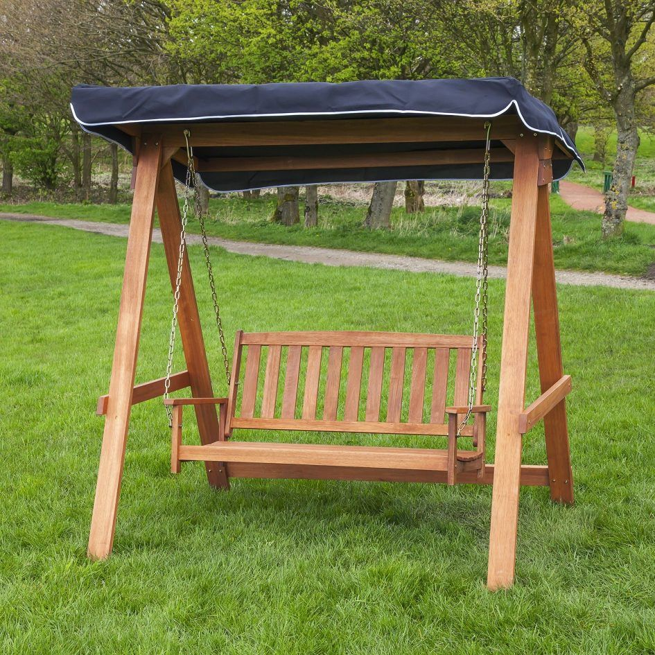 Exterior luxury outdoor wood swing chair lovely brown