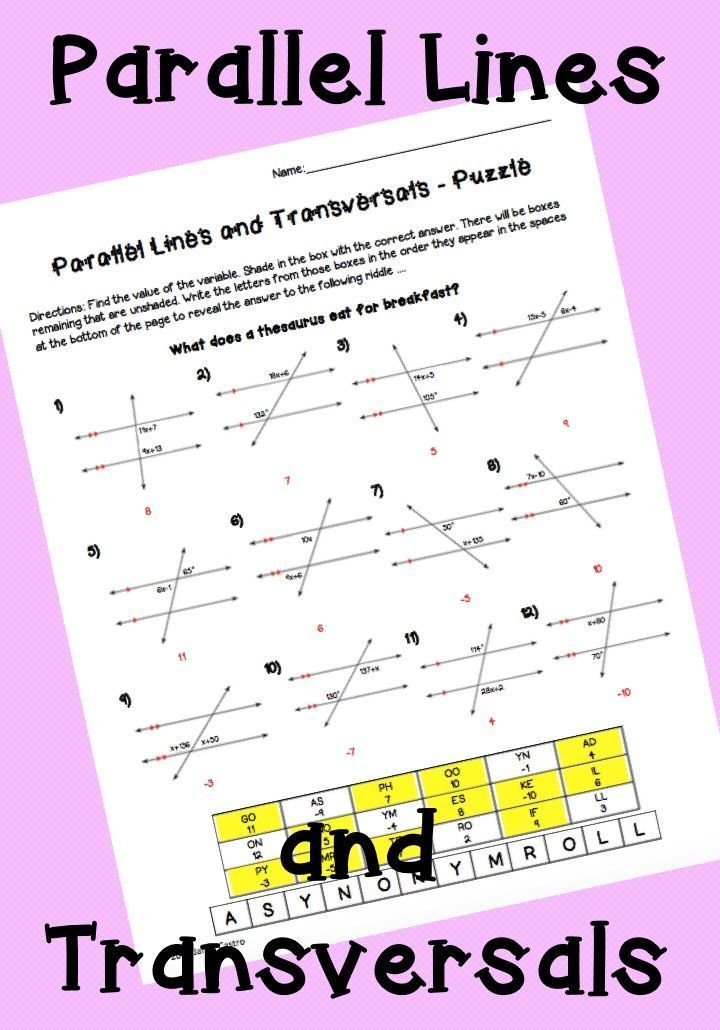 Parallel Lines And Transversals Puzzle Worksheet Math