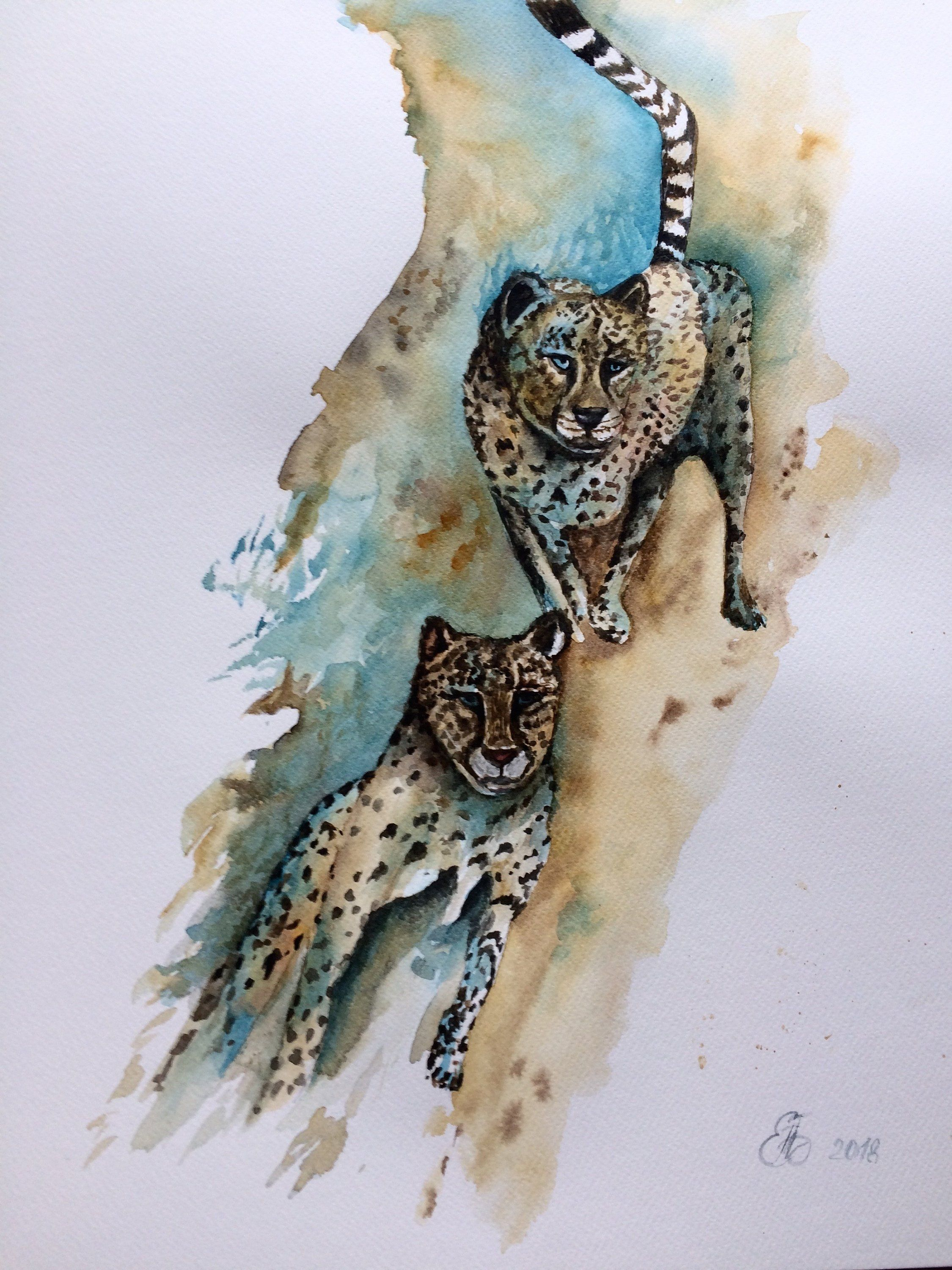 Original Aquarellbild Watercolor Painting Tiere Malen Tierwelt