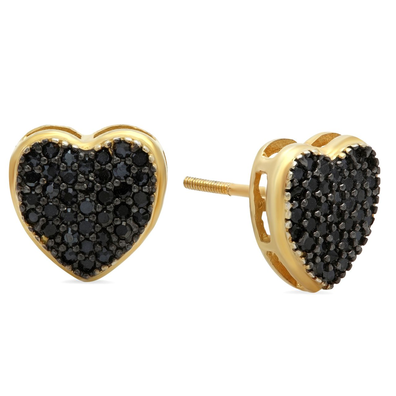 10mm - 14k Yellow Gold Plated over Solid 925 Sterling Silver Black CZ Heart Earrings