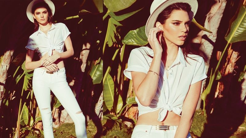 Kendall Jenner wears a boater hat and tie-up shirt in Penshoppe's spring 2016 campaign