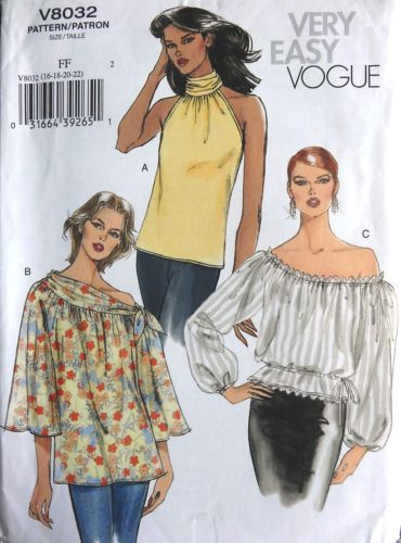 OOP-VOGUE-V8032-MISS-OFF-SHOULDER-PEASANT-TOPS-BLOUSE-SEWING-PATTERN ...
