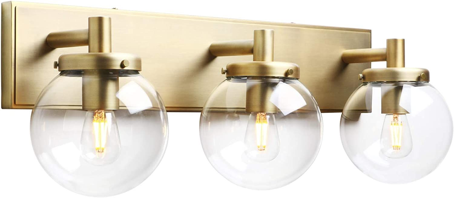 Pathson 3 Light Vintage Wall Sconce Industrial Bathroom Vanity Light With Globe Glass In 2020 Bathroom Vanity Lighting Vintage Industrial Bathroom Wall Light Shades