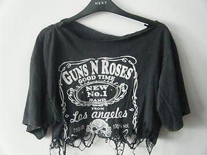 32d83684d Grunge Indie Hipster DIY Distressed Guns N' Roses Crop Top Band Tshirt
