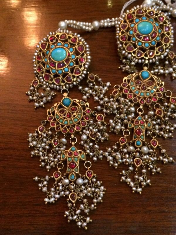 Long Earrings With Precious Stones Like Firoza And Pearls