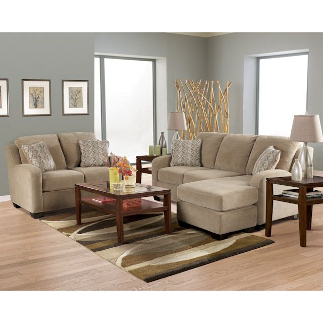 Circa Taupe Living Room Sofa with Chaise Loveseat Chair Paint