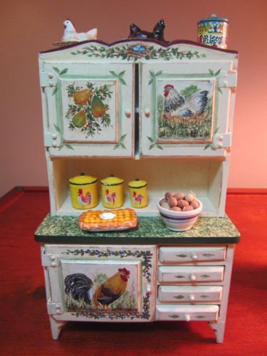 Dollhouse Artist Painted Dining Kitchen Area Rooster Themed Table Hutch More