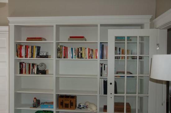 built in bookshelves from IKEA shelving