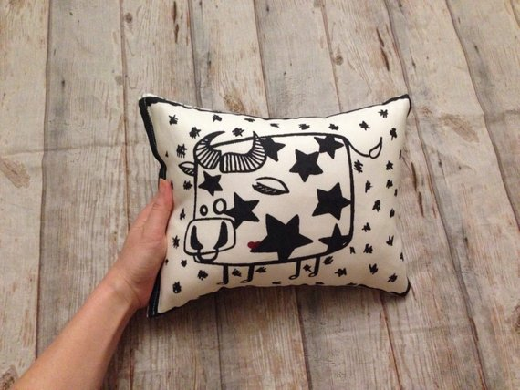 Monochrome COW pillow, black and white BULL cushion, Bull with STARS plushy, kids room decor, crib b