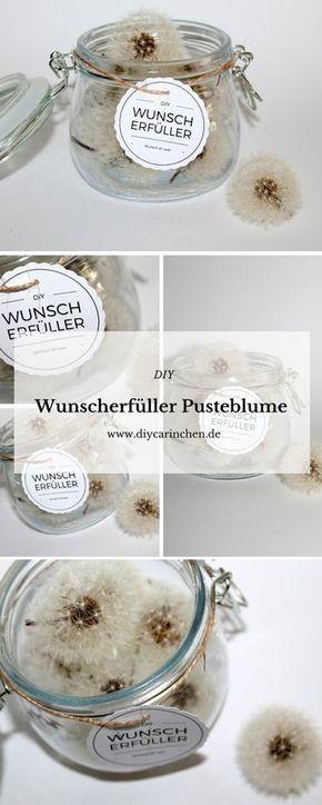 diy wunscherf ller pusteblume free printable bastelideen pinterest geschenke basteln. Black Bedroom Furniture Sets. Home Design Ideas