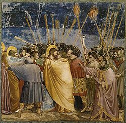 El beso de Judas representado por Giotto en la Capilla de los Scrovegni (Padua…