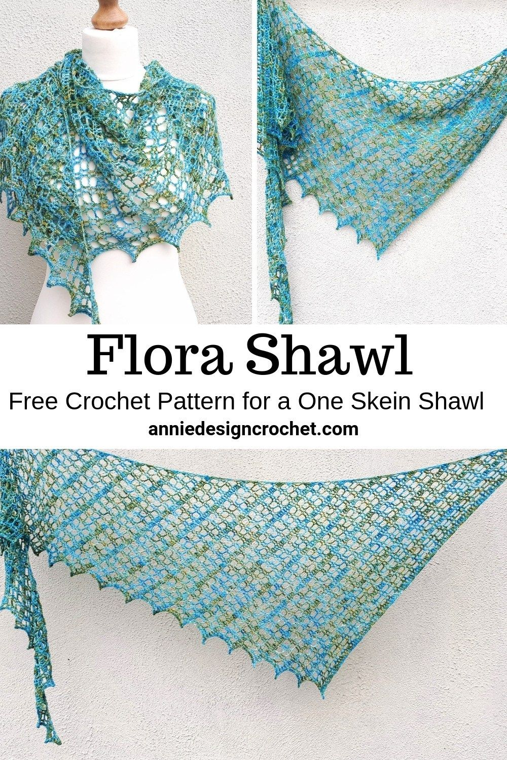 A one skein crochet shawl! A free crochet pattern perfect for that precious skein of Indie Dyed yarn you have been saving. Flora Shawl is a light lace design, for a narrow asymmetric shawl with a wide wing span. Includes a helpful photo tutorial for the first 12 rows to get you started.