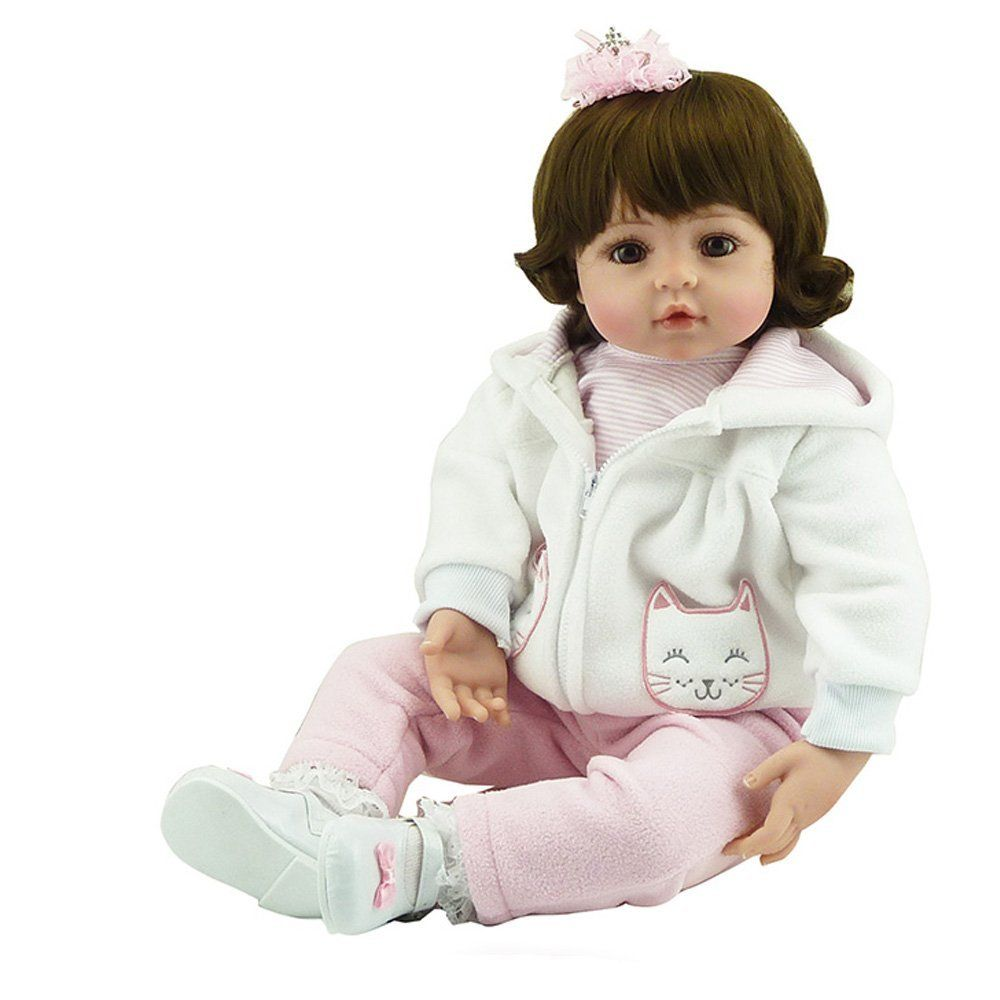 df169ff52 Amazon.com  Soft Silicone Realistic Lifelike Reaborn Girls Toddlers Baby  Dolls Toys With Hair Eyes Open  Toys   Games