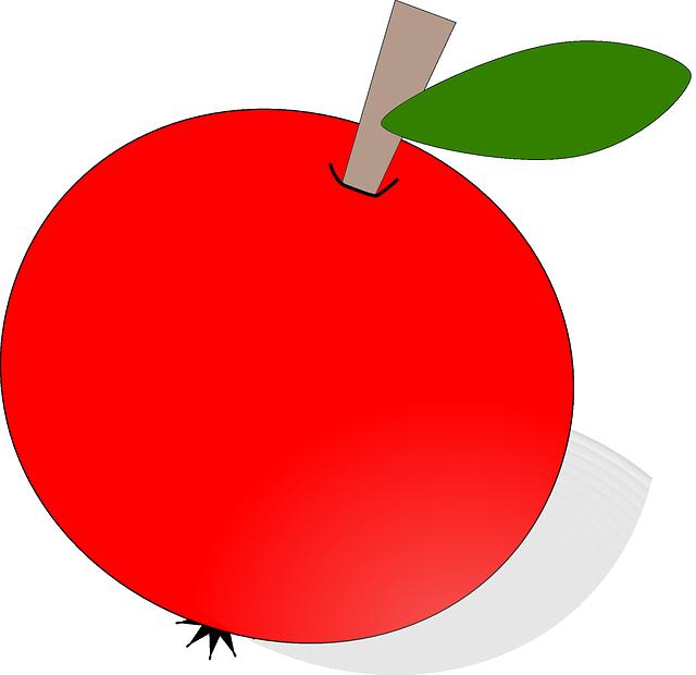 red, apple, food, fruit, apples, cartoon, round, plant