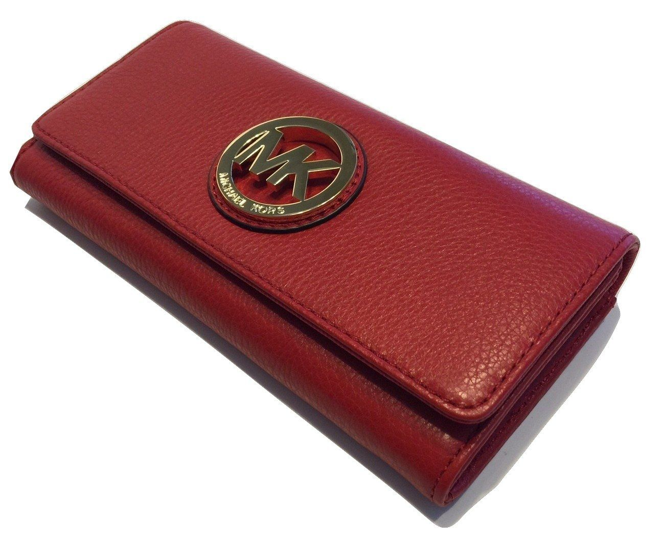 2317634af2eb Michael Kors Fulton Flap Continental Clutch Wallet Red Leather  Handbags   Amazon.com