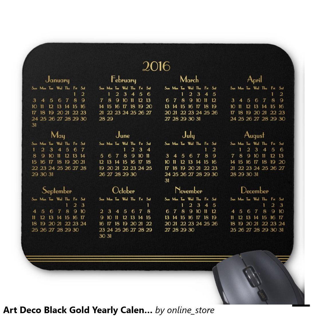 Art Deco Black Gold Yearly Calendar 2016 Mousepad