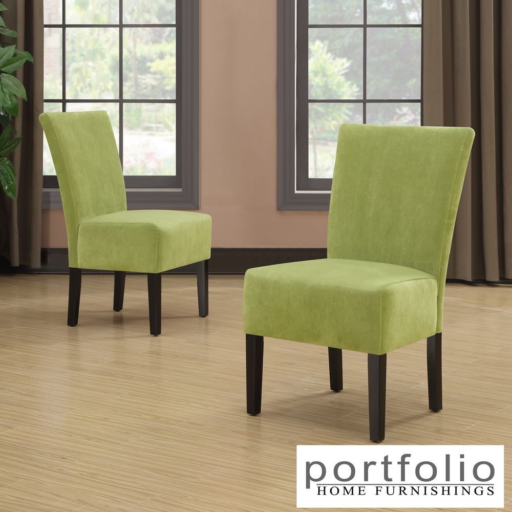 Portfolio Duet Emma Spring Green Velvet Upholstered Armless Chair (Set Of  2)   Overstock.com Shopping   The Best Deals On Dining Chairs