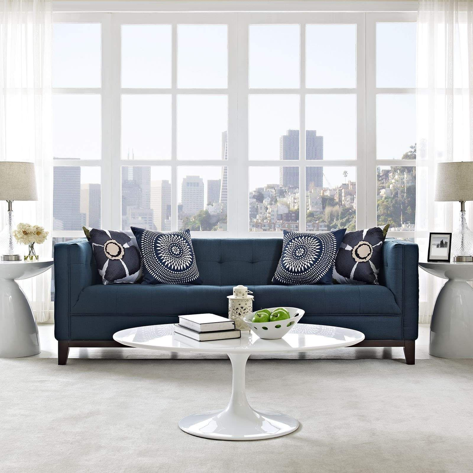 Fabric mid century modern sofa azure blue