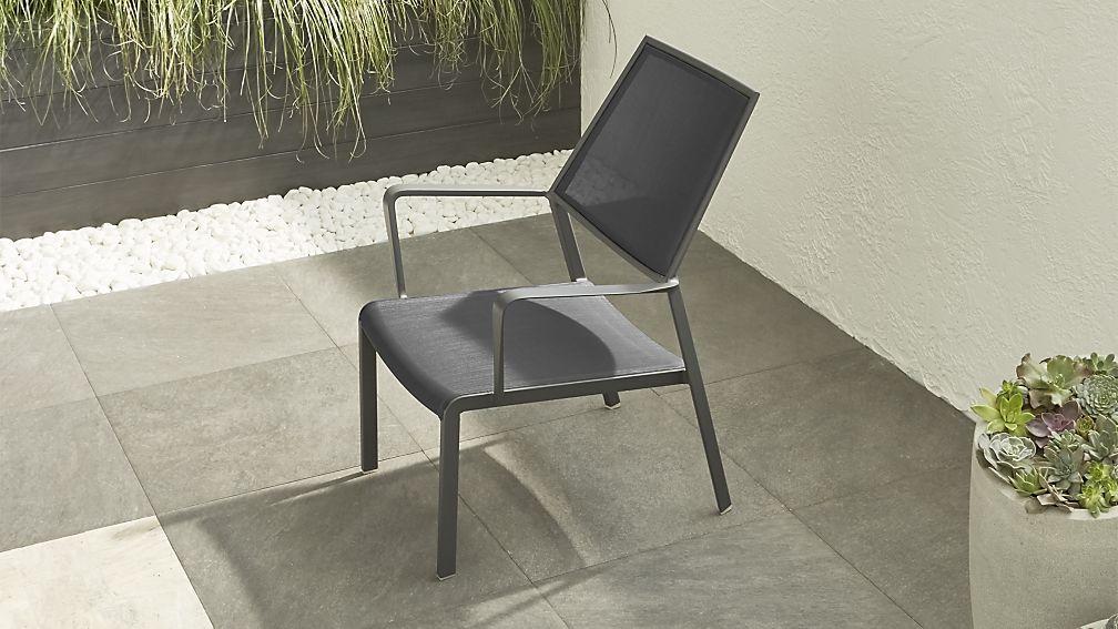 Largo Charcoal Grey Mesh Lounge Chair Patio Lounge Furniture Lounge Chair Outdoor Metal Outdoor Furniture