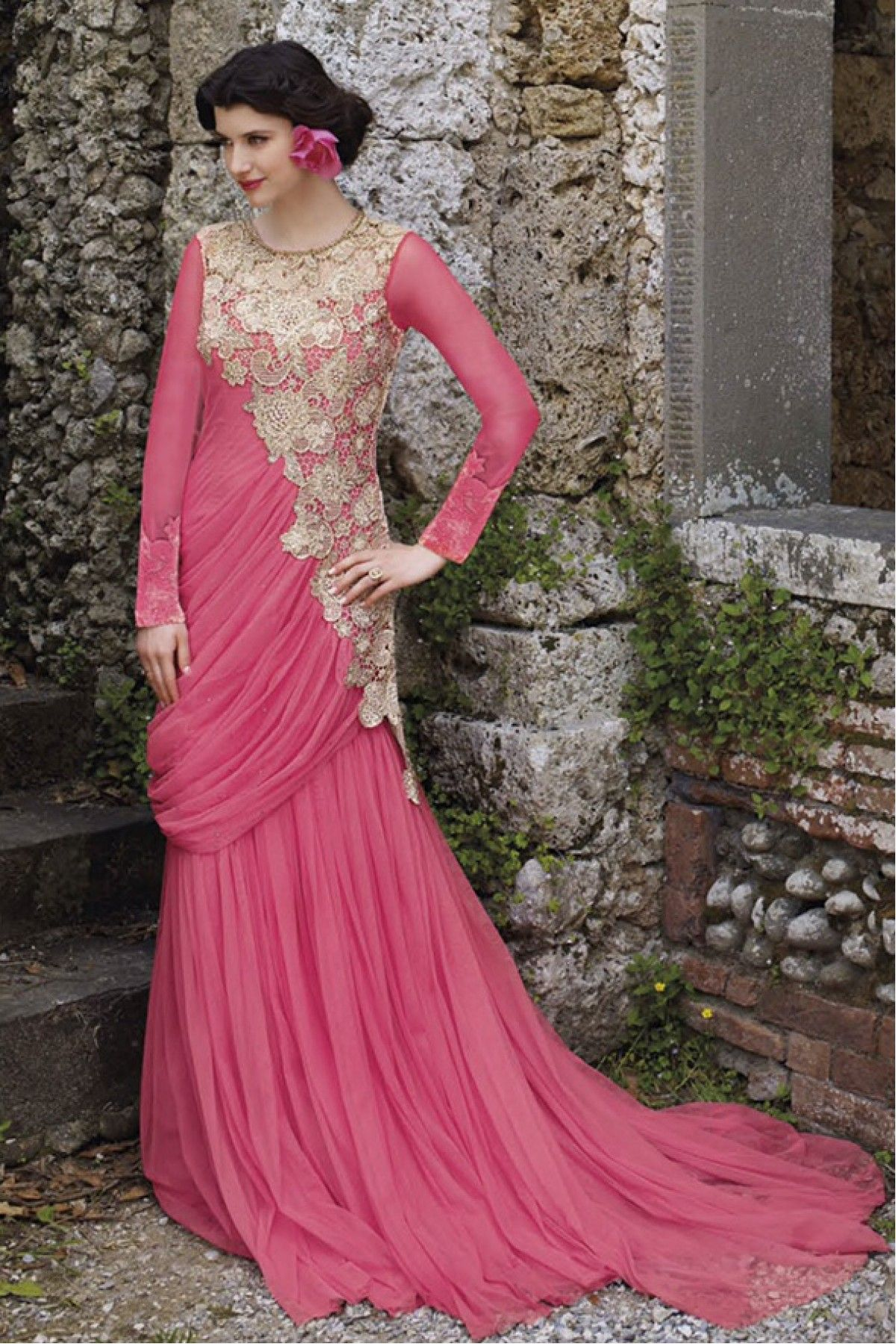 935c6fdade Pink Colour Net Fabric Designer Semi Stitched Gown Comes With Matching  Dupatta. This Gown Is Crafted With Embroidery,Sequins Work,Patch Work,Stone  Work,Zari ...