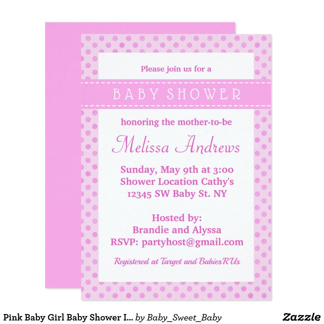 Pink Baby Girl Baby Shower Invitation | Custom baby shower ...