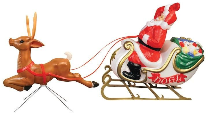 general foam plastics santas sleigh indoor outdoor christmas decor 2 piece set