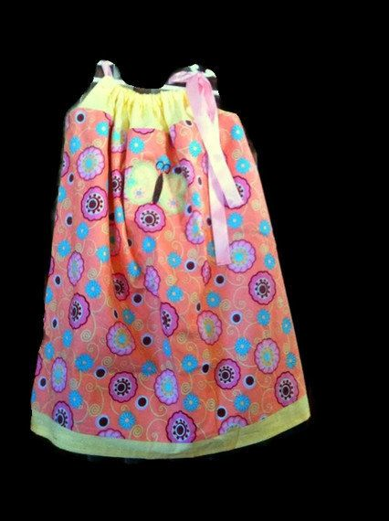 Pillowcase Easter dress Orange Sherbet Butterfly by KikiCloset, $19.00 #handmadec #hmcapril