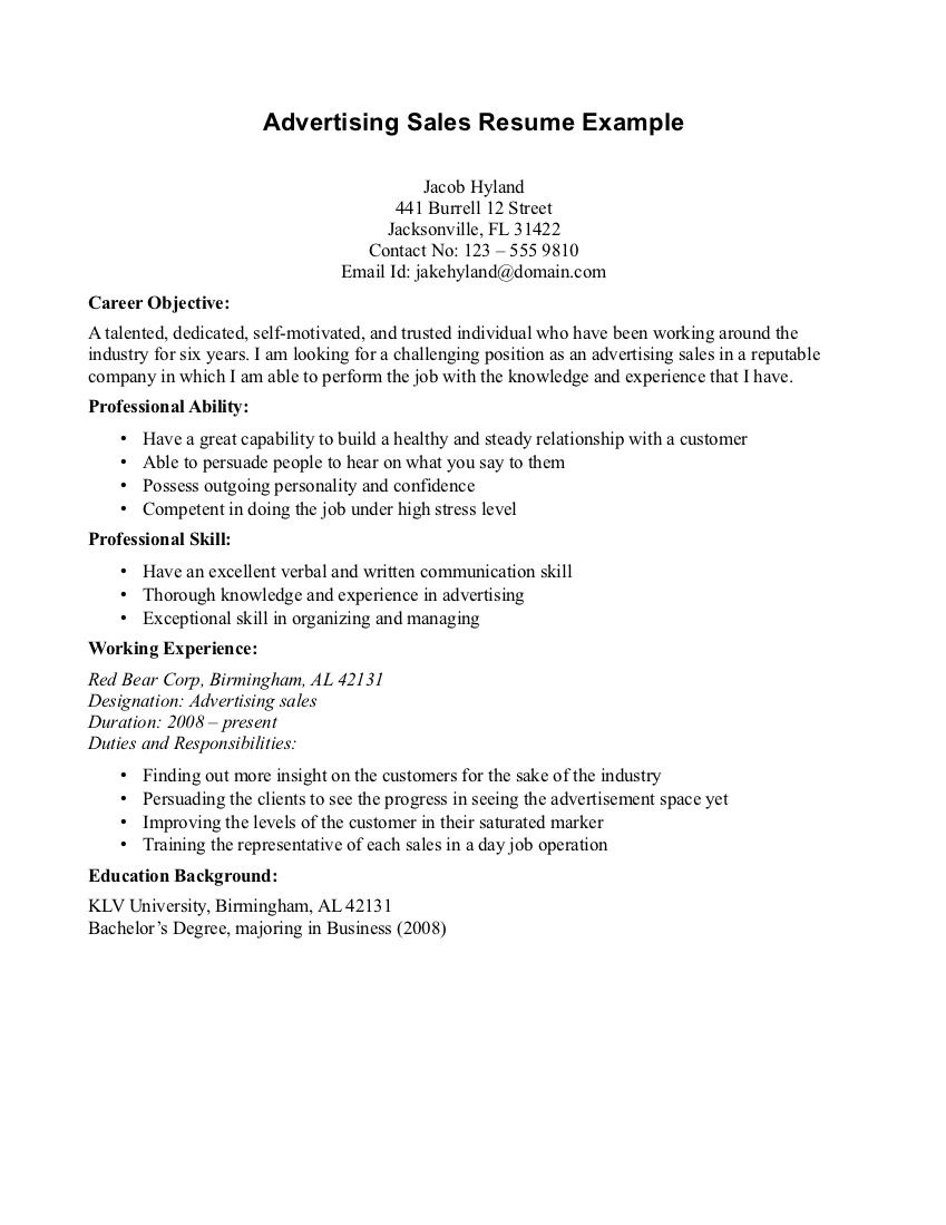 Example Of An Objective On A Resume Sales Advertising Resume Objective Read More  Httpwww