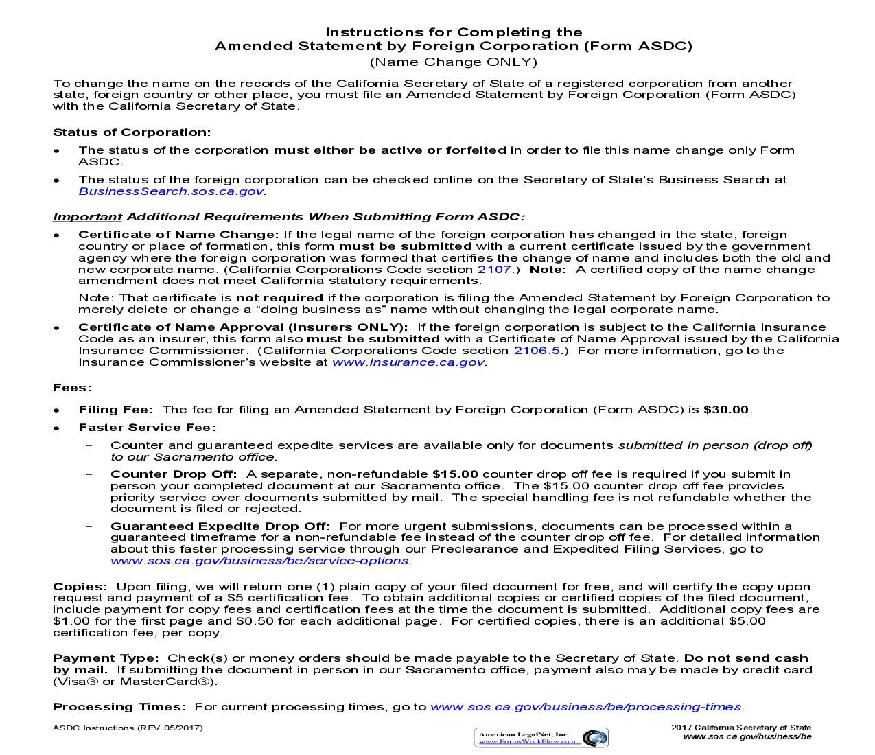 Amended Statement By Foreign Corporation Form Asdc California Corporate Foreign