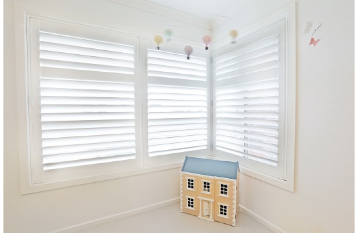 White Pvc Plantation Shutters For A Corner Window