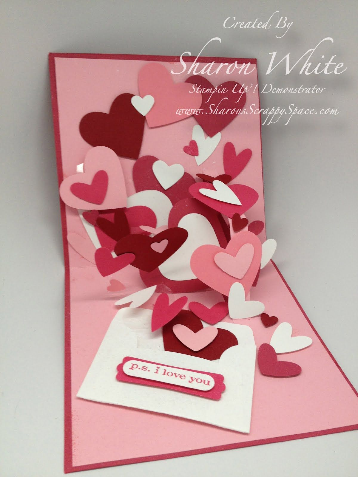 Sharons Scrappy Space Valentine Heart Card Pop Up – Valentine Heart Cards