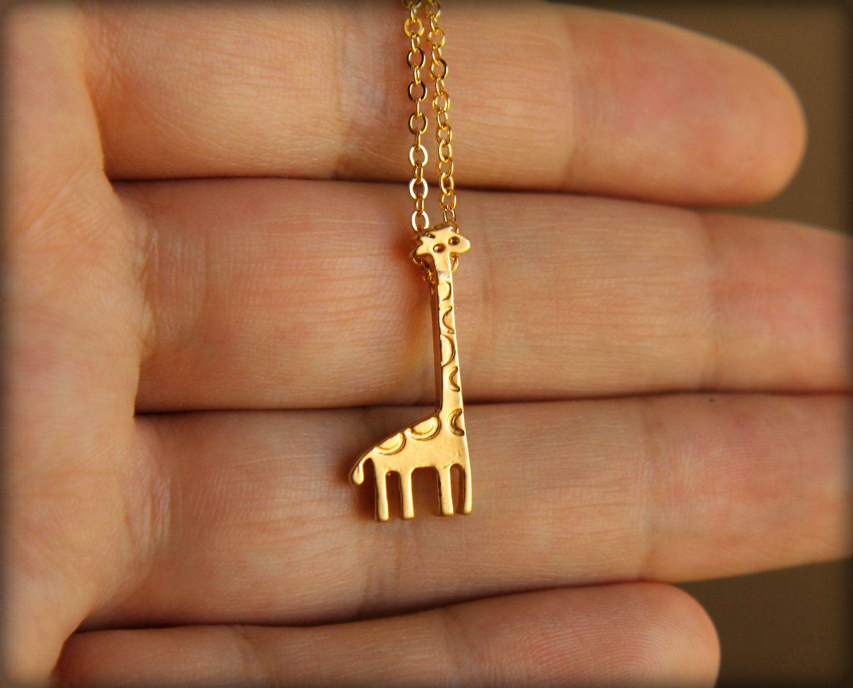 Tiny Giraffe Necklace in Gold by saffronandsaege on Etsy, $19.00