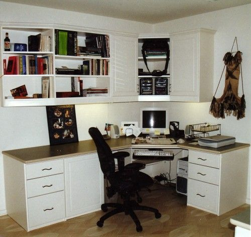 Corner Desk With Upper Cabinets And Shelving Contemporary Home