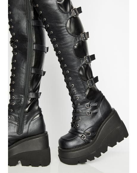 Over the Knee Boots Women Thigh High Platform Creepers Lace Up Chunky Flats Punk