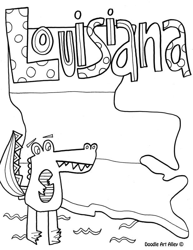 Louisiana Coloring Page by Doodle Art Alley United States map