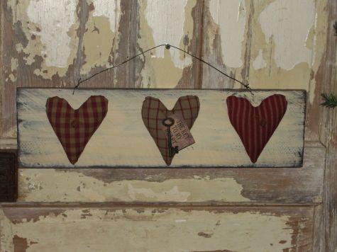 Primitive Three Heart Wall Board
