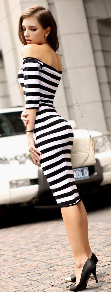 Women's Bodycon / Casual / Party / Sexy Striped Bodycon Dress ...